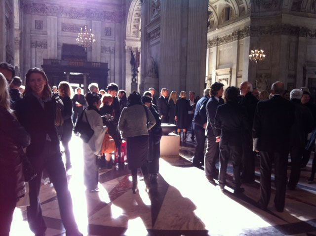 Attendees gather prior to the service.