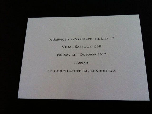 The invite to the memorial service.