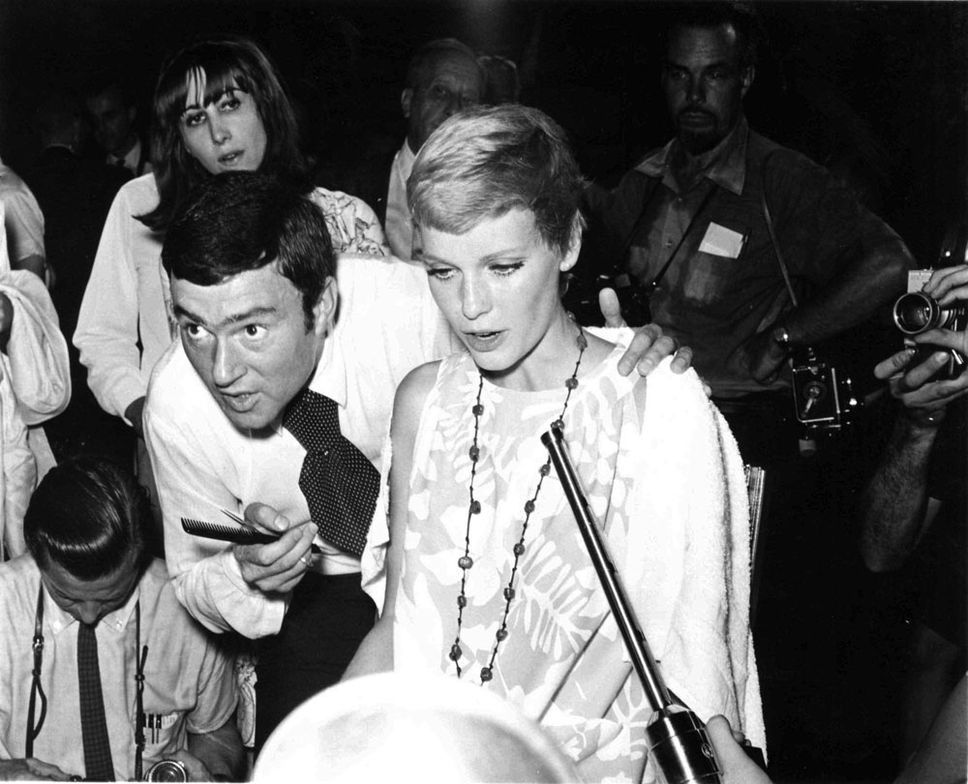 Mia Farrow gets her hair cut by Vidal Sassoon for Rosemarys Baby.  Image courtesy of Sassoon