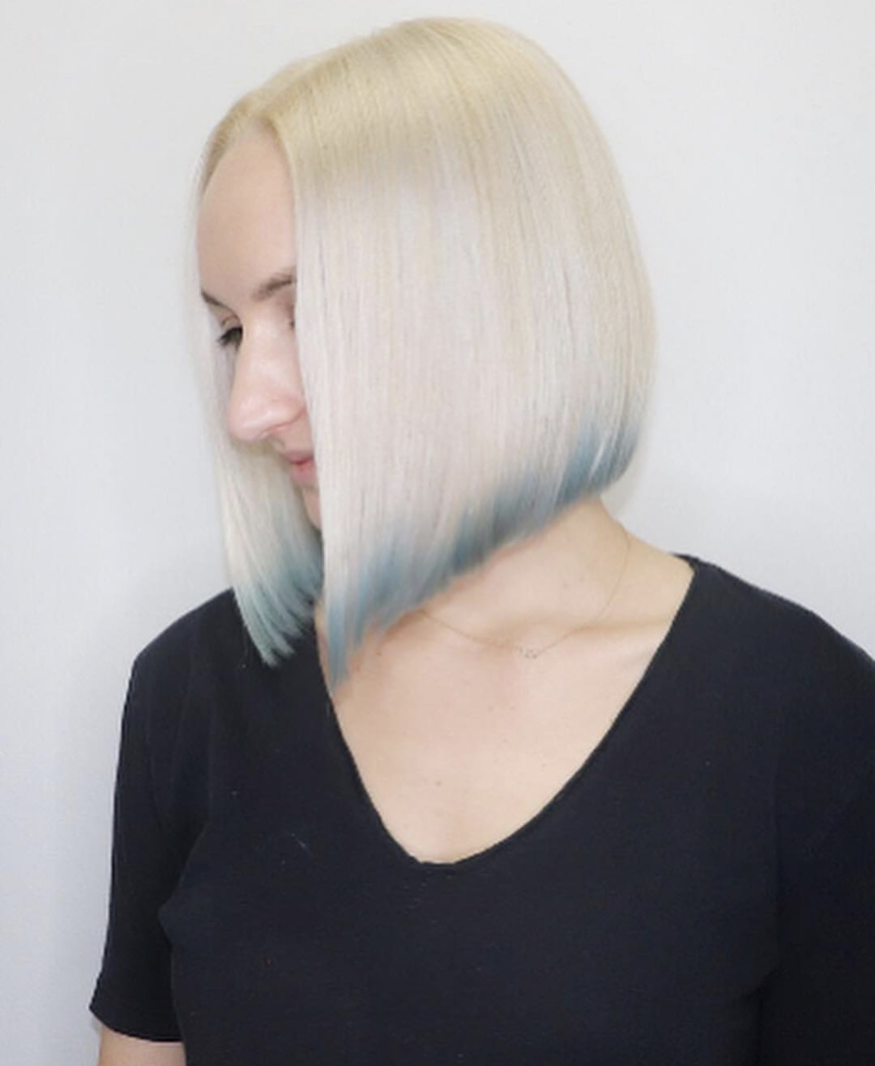 Platinum Blonde Bob with Baby Blue Tips
