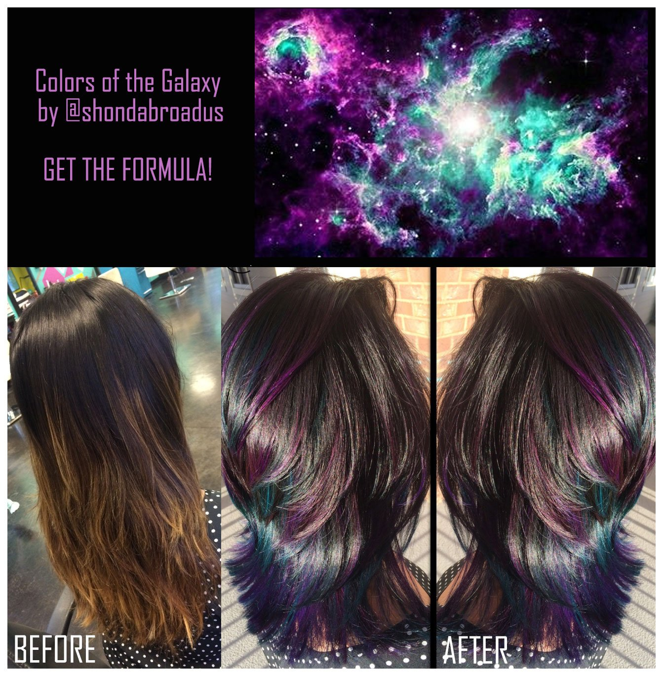(From left) Before and After. Inspiration: Colors of the Galaxy (pictured) (photo credit: Shonda Broadus) Shonda Broadus