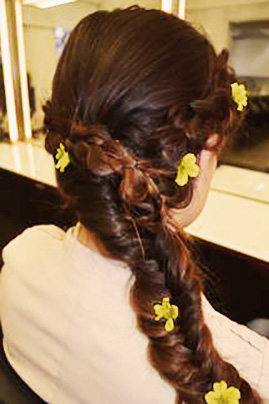 Side Fishtail Braid with flowers