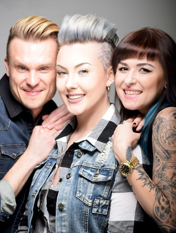 (Left) Bii's Chief Creative Officer and Pravana Guest Artist James Gartner, (Middle) Haircolorist and Model Jacquelyn Marie Hastings; (Right) Celebrity Stylist Aga Dondzik.