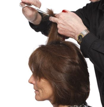 Dry the hair. Then point cut into ends for texture.