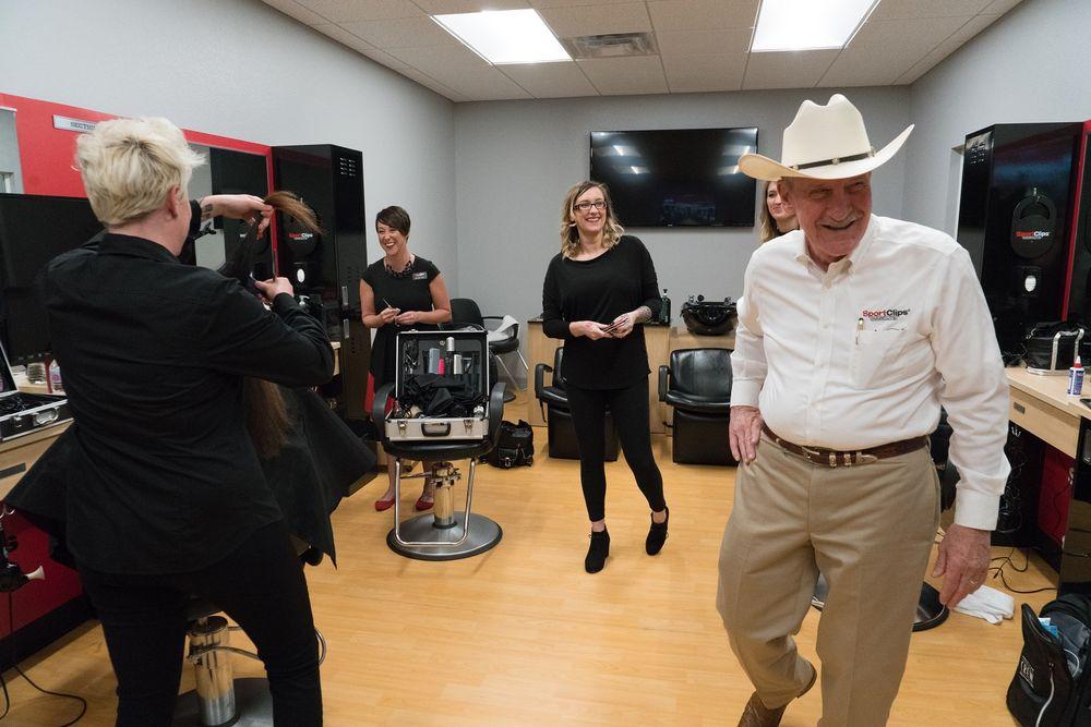 Gordon Logan, creator of Sport Clips, visits the set.