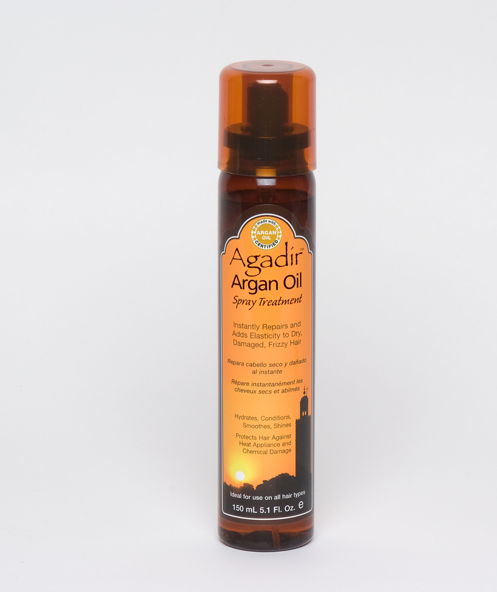 Agadir Argan Oil Spray Treatment: Manages, repairs, smooths, hydrates and adds elasticity and shine to dry, damaged, frizzy hair. Leave-in treatment also protects hair from heat styling.