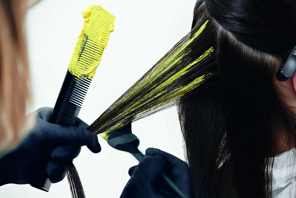 COLOR STEP 1: Part hair around the hat-line. Start freehand lightening below the hat-line with color A.