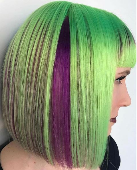 How cute is that peek-a-boo purple paired with this bright lime green?
