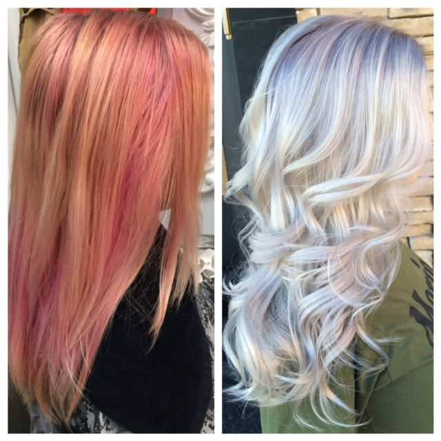 Faded Pink To HOT Ultra Light Blonde