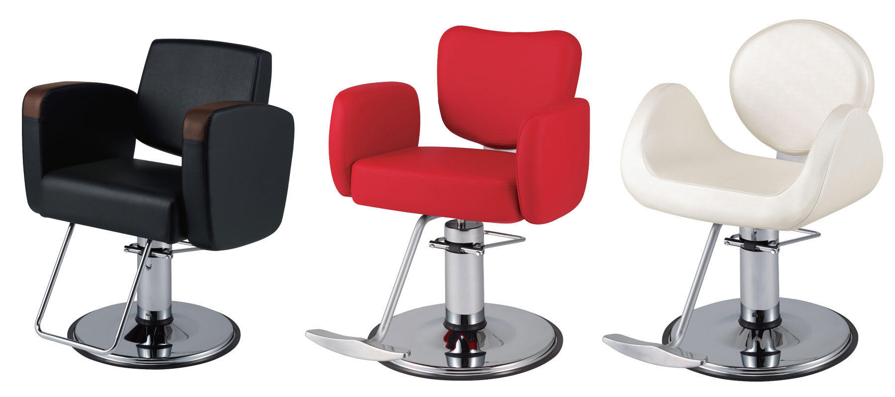 From left to right: the Takara Belmont Virtus styling chair, Bellus styling chair and Novo styling chair.