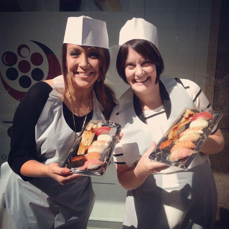 Alison Shipley with Jill Kohler outside of the sushi-making class.