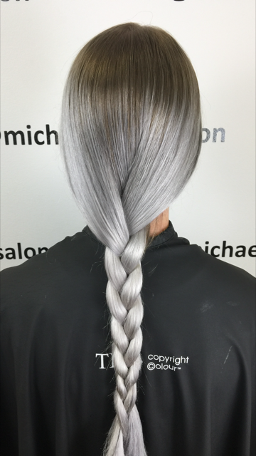Icy silver color by Tammy Feltner using TIGI Copyright Colour.