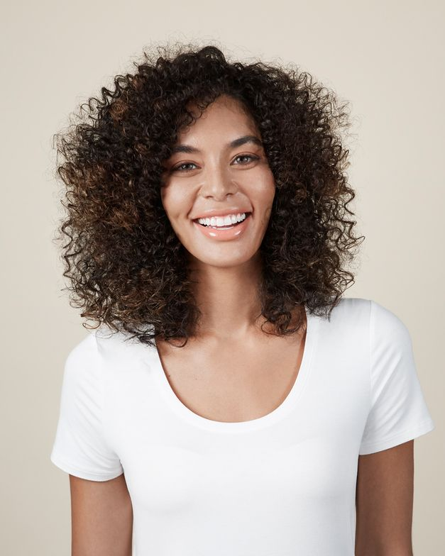 <p><strong>After the Bantu Knot technique—consistent, frizz-free curl.</strong></p>