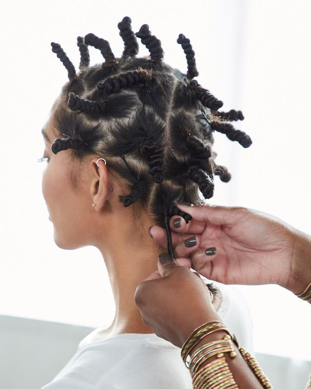 <strong>The size of each Bantu Knot section will dictate the size of the finished curl.</strong>