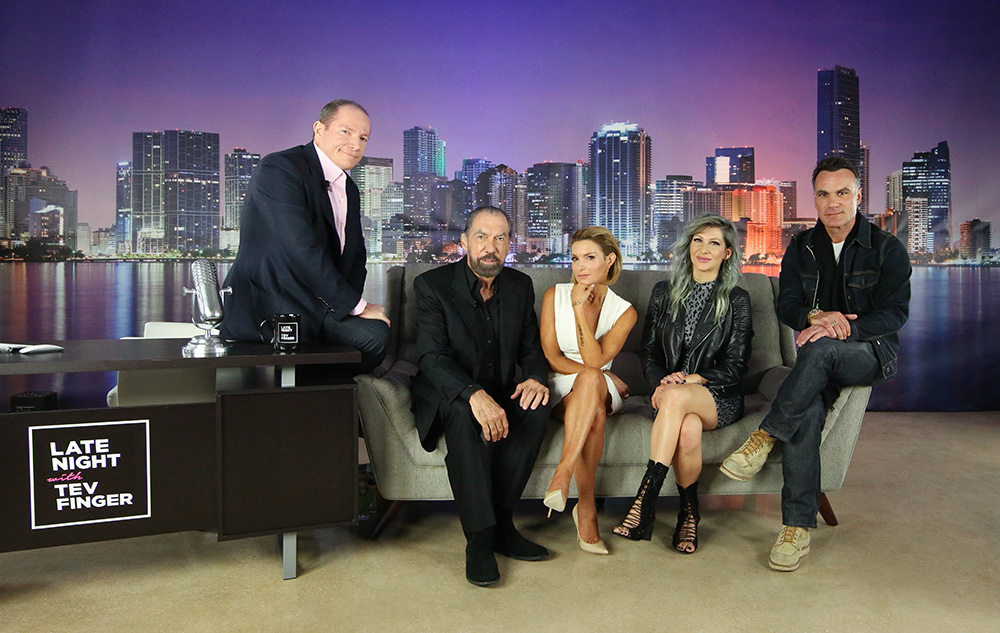 On the set with Late Night with Tev Finger: LBP's Co-Founder Tev Finger welcomes entrepreneurial master John Paul DeJoria of John Paul Mitchell Systems; beauty royalty Eden Sassoon of Eden by Eden Sassoon in Los Angeles; social media sensation Jenny Strebe of @theconfessionsofahairstylist), and reality TV star Jonathan Antin of Jonathan & George Salon in Los Angeles.