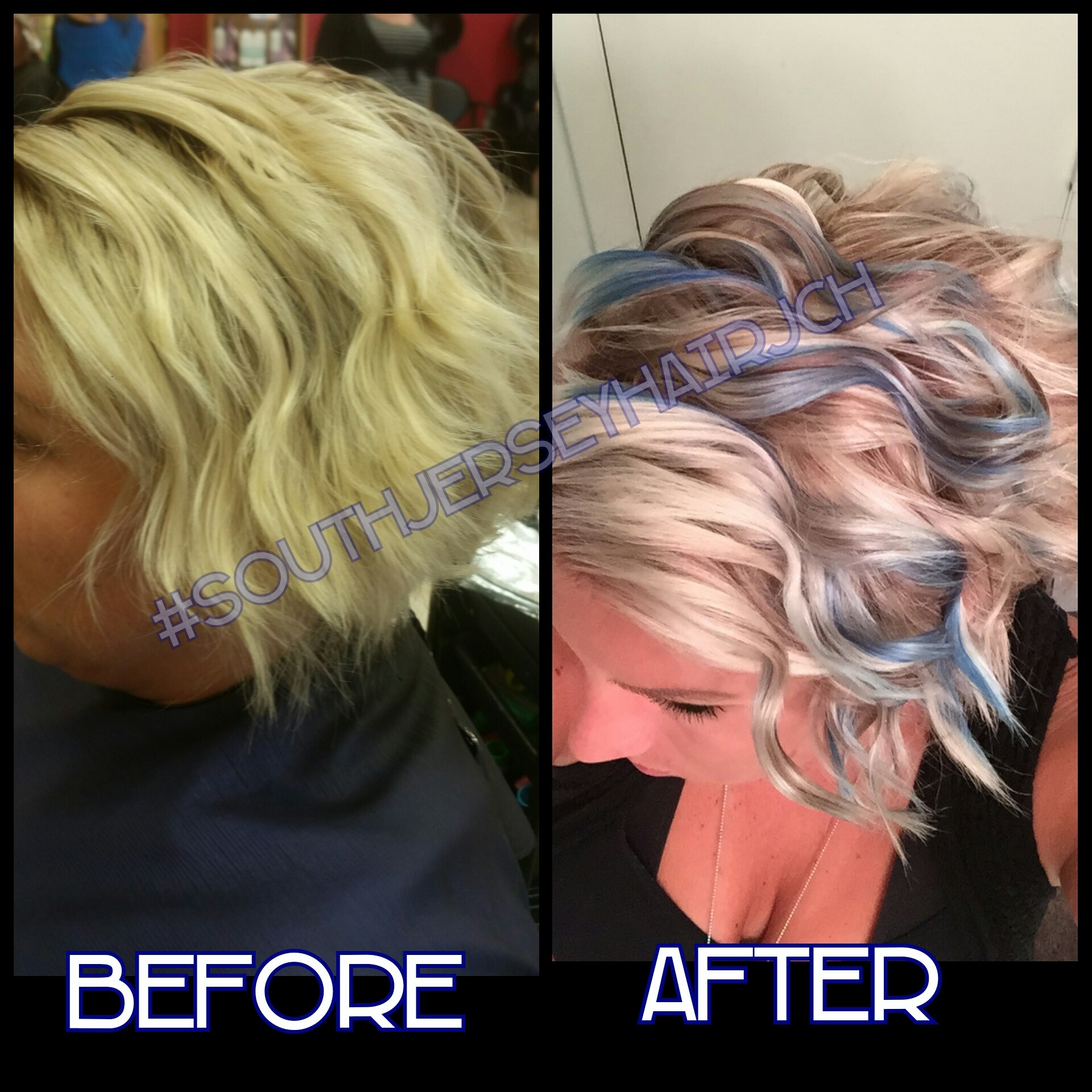 Golden to Ash Blonde Base, Accented with Teal