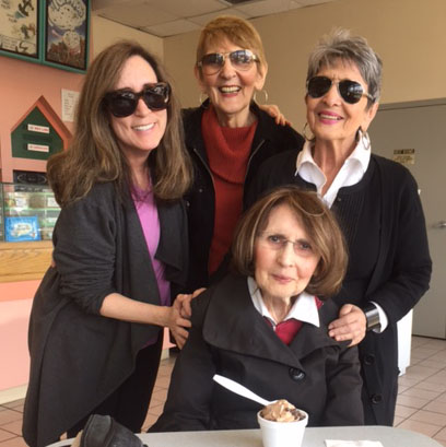 Sylvia Reichman, seated, with from left, Tobi Becker and Sylvia's sisters Judy and Elaine.