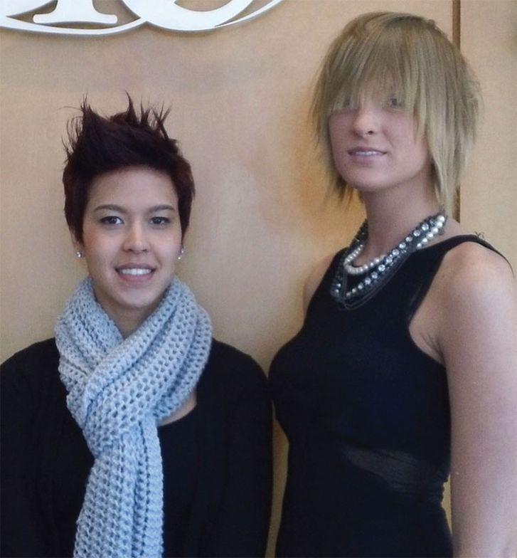 Stylist Hannah Clark with her model.