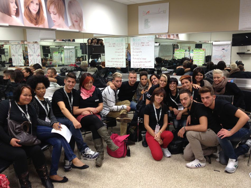 Some of the 27 hair and esthetics students from Italian beauty school Accademia i Santini