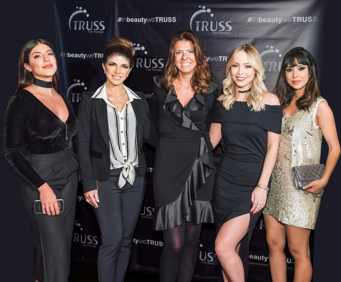 Rachel Apollonio, Real Housewives of New Jersey star Teresa Guidice, Truss CEO Manuella Bossa, Tata Estaniecki, and Gabriela Sales attend the #inbeautyweTRUSS Launch Party on October 27, 2016 in New York City.