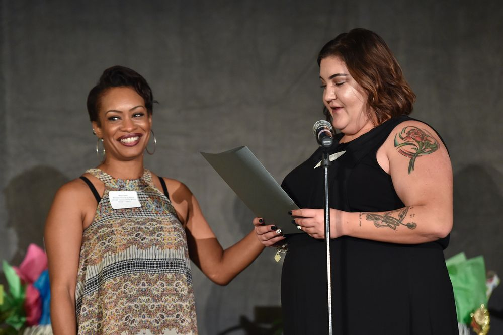 Teacher honoree Mora Carter, Marinello Schools of Beauty and her nominating stylist, Simona Lutz of Lake Forest Supercuts