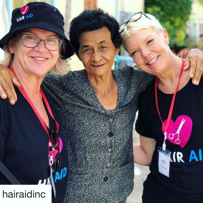 """Selina Tomasich and Tabatha with Granny Thim Theang, the """"adopted"""" granny to many in her community."""