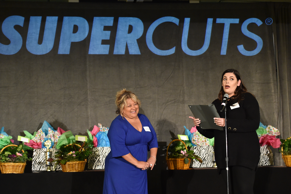 Teacher honoree Lori Hames, Riverside Community College and her nominating stylist, Aja Maneggio of Moreno Valley Supercuts