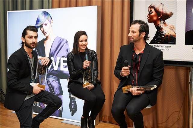 The winners meet the press after winning gold in their categories. From left: Sargis Airapetian, Russia (New Talent), Larissa Bresnehan, Australia (Creative) and Daniel Rubin, USA (Partner).