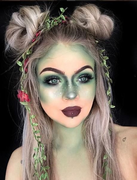 Halloween makeup doesn't have to be scary. We love this pretty green look because it could work for a fairy costume or for poison ivy.
