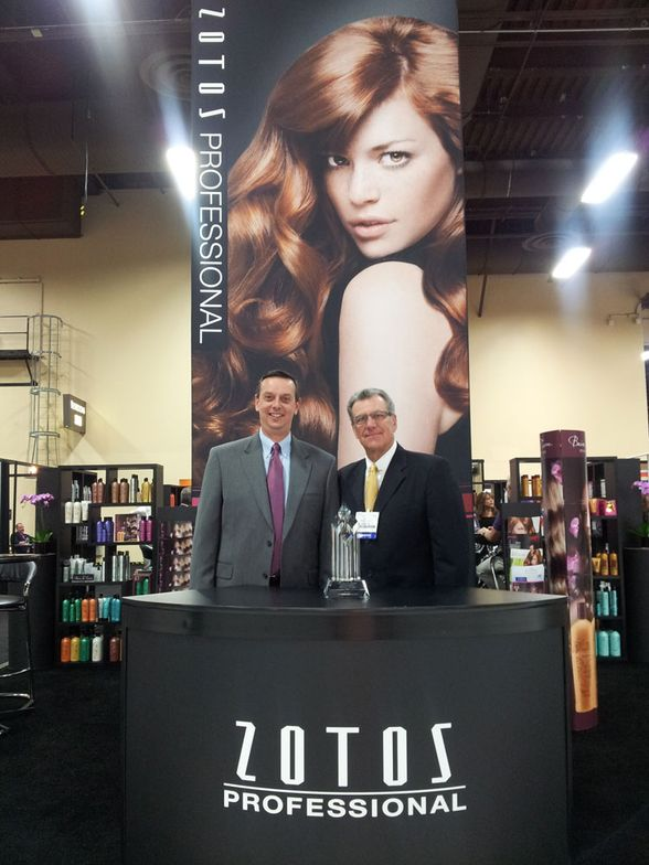 Tom Harrison of Van Nest Coleman Midwest, third place sales for Zotos Professional, with Al Gibbon of Zotos.