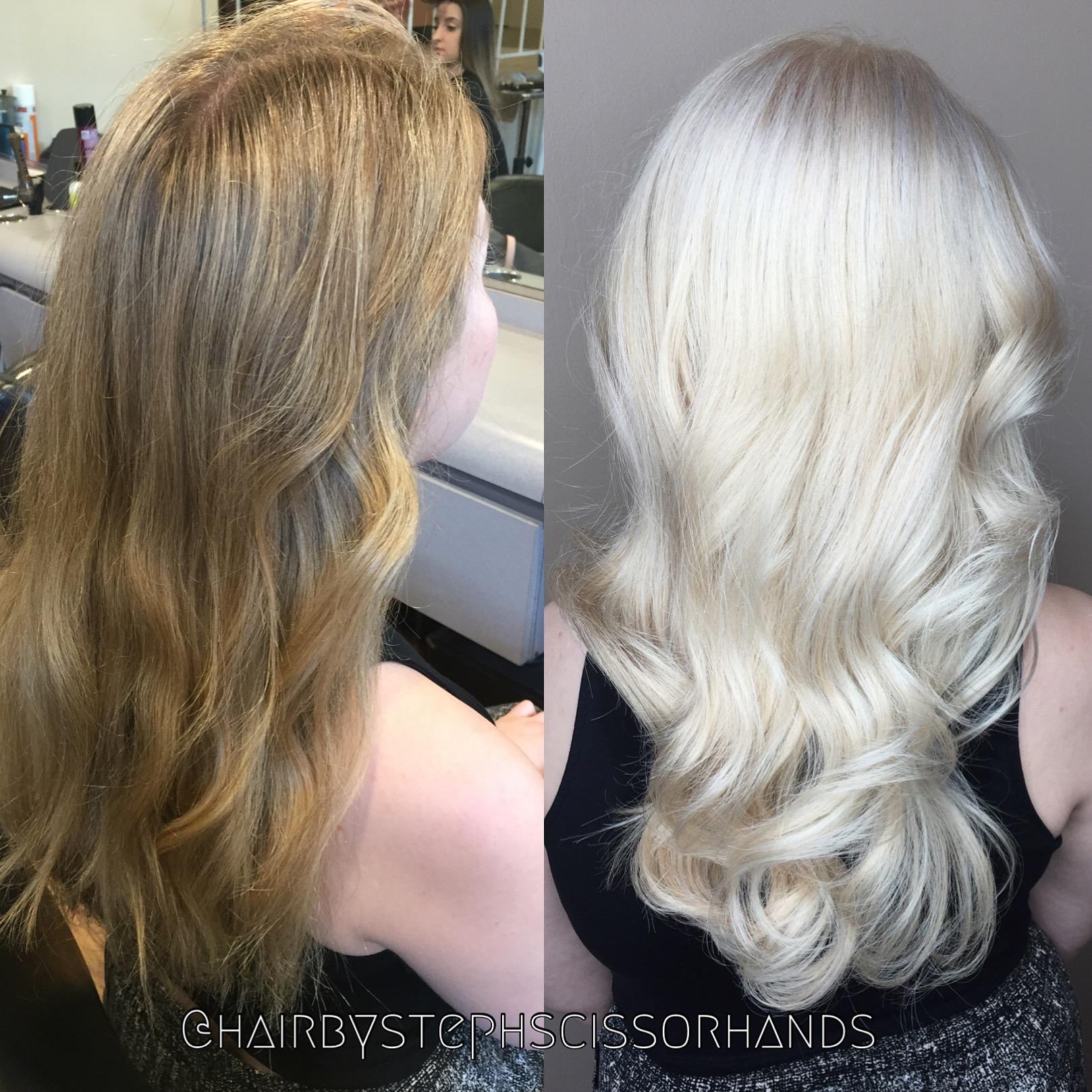 fanola no yellow shampoo. makeover: classic highlights to platinum fanola no yellow shampoo