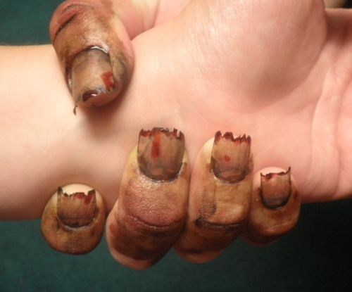 Vanessa Petroff, Elite Hair Design (Clio, MI) - Day 295: Zombie Nail Art - - NAILS Magazine