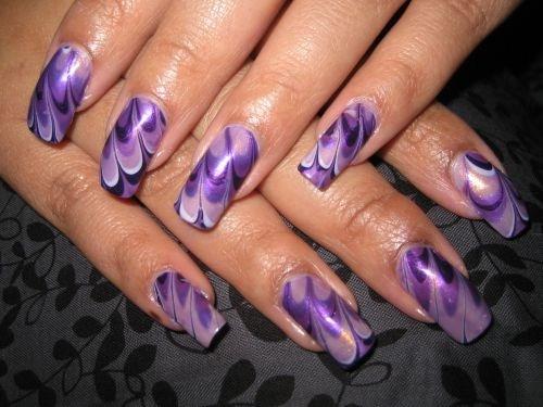 Day 37 Purple Fanatic Water Marble Nail Art Nails Magazine