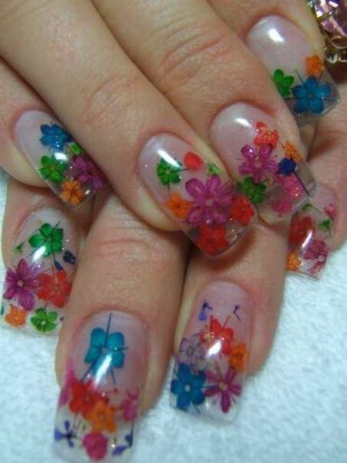 Day 104 Inlaid Dried Flowers Nail Art Nails Magazine