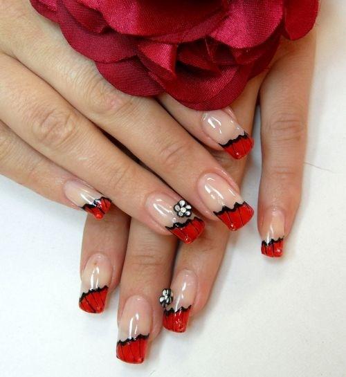 Day 148 red french floral nail art nails magazine dorota palicka poland keywords floral nail art french prinsesfo Choice Image