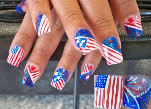 Day 183 Stars And Stripes Nail Art