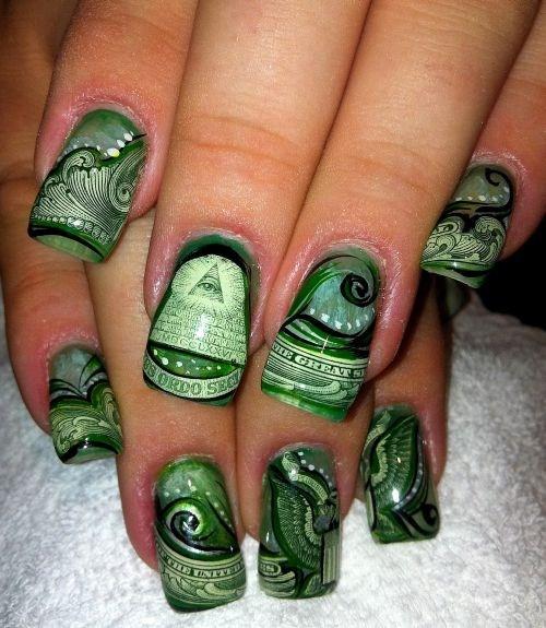 Day 242 Handpainted Money Nail Art Nails Magazine