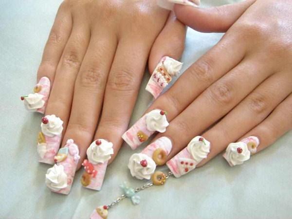 Azumi Kanene Williams (Honolulu, Hawaii). Keywords: acrylics trendy nail art - Day 27: Sweet Treats Nail Art - - NAILS Magazine