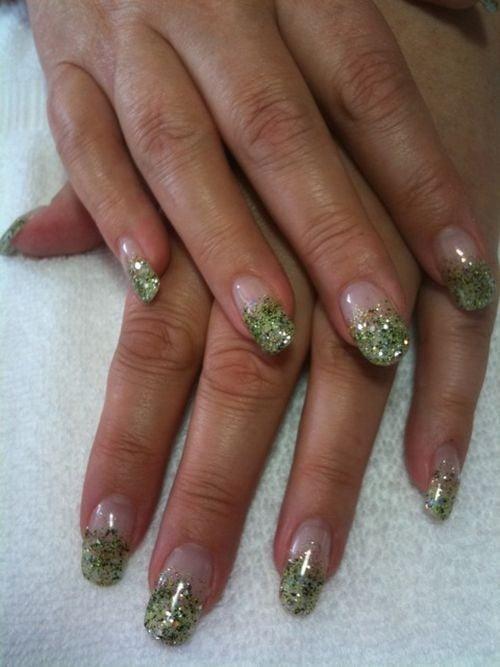 Jenny Meek, Classy Nails by Jenny (Fletcher, Okla.) - Day 73: Irish Green French Glitter Fade Nail Art - - NAILS Magazine