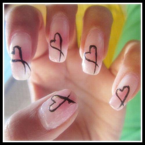 Nail Art Easy Heart: Day 78: Simple Abstract Hearts Nail Art