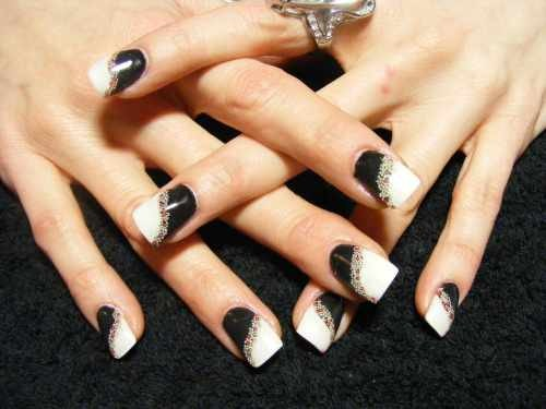Day 9 Black And White And Jeweled Nail Art Nails Magazine