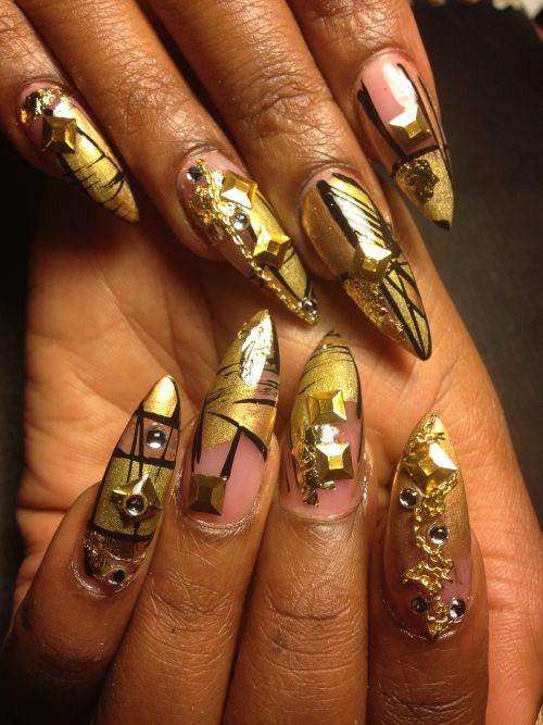 Day 313: Abstract Golden Nail Art - - NAILS Magazine
