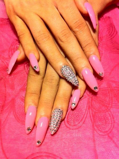 Day 132: Pink Bling Nail Art - - NAILS Magazine