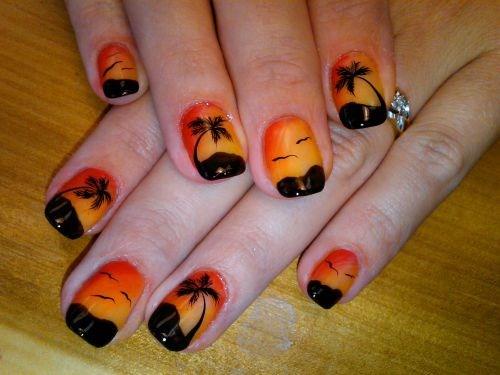 Day 158 Tropical Sunset Nail Art Nails Magazine