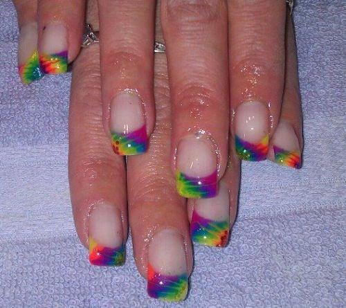 - Day 201: Tie Dye French Nail Art - - NAILS Magazine