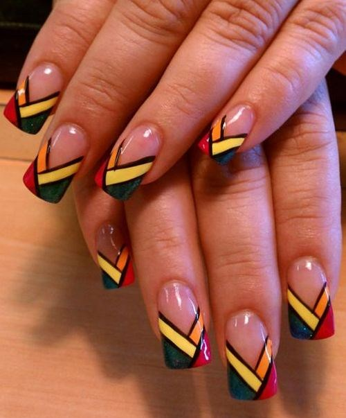 Day 203 funky chevron french nail art nails magazine crystal l jones the salon hair nails and fitness studio danville prinsesfo Image collections