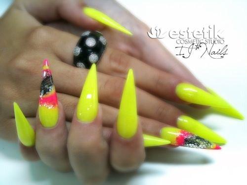 Igor Jovic, Estetik Studio, ... - Day 251: Neon And Lace Stiletto Nail Art - - NAILS Magazine