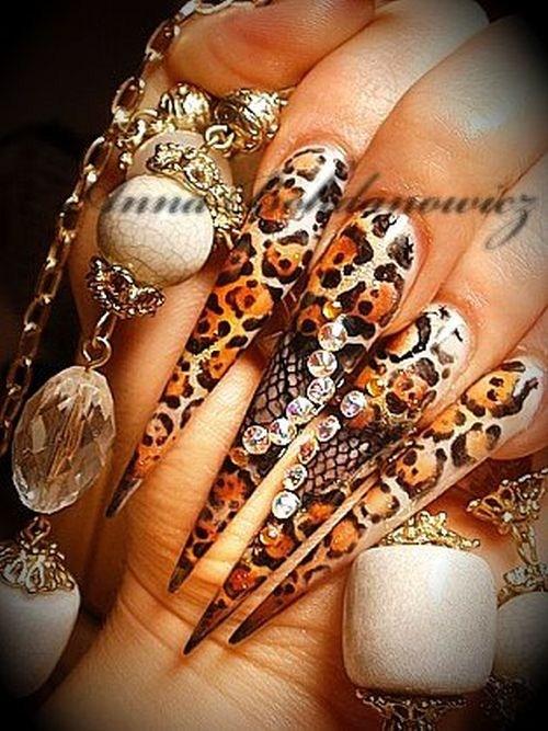 Day 262: Leopard Stiletto Nail Art - - NAILS Magazine