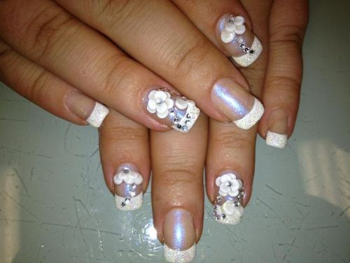 Day 296 French Nail Art With 3 D Flowers