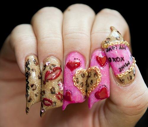Valentine S Day Nails Art: Day 41: Leopard Valentine's Day Nail Art